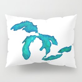 watercolor Great Lakes Pillow Sham