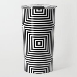 Square Optical Illusion Black And White Travel Mug