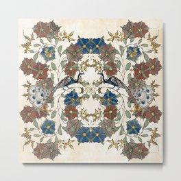 Medieval Peacock and Floral Pattern Metal Print