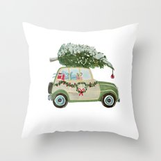 Vintage Christmas car with tree green Throw Pillow