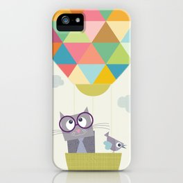Hot Air Ballon with cat iPhone Case