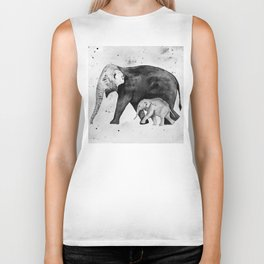 Family of elephants, black and white Biker Tank