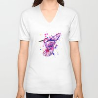 splatter V-neck T-shirts featuring Hummingbird Splatter by Ludwig Van Bacon