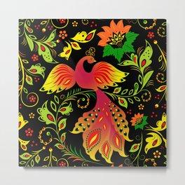 Fairy tale khokhloma bird Metal Print