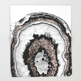 Gray Black White Agate with Rose Gold Glitter #1a #gem #decor #art #society6 Throw Blanket