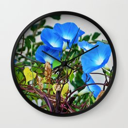 French Blue Morning Glory Wall Clock