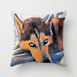 Husky 5 Throw Pillow