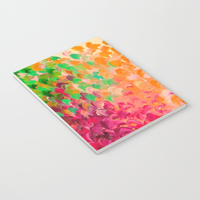 CREATION IN COLOR Autumn Infusion - Colorful Abstract Acrylic Painting Fall Splash Ombre Ocean Waves Notebook