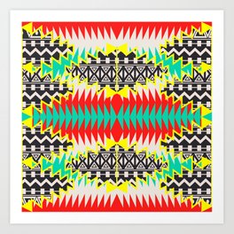 Tribal Beat Geo Neon Art Print