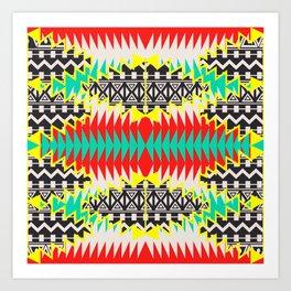 Tribal Beat Geo Neon Art Print