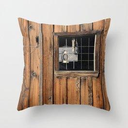 Rustic Cabin Window With Oil Lantern Throw Pillow