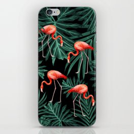 Summer Flamingo Jungle Night Vibes #2 #tropical #decor #art #society6 iPhone Skin