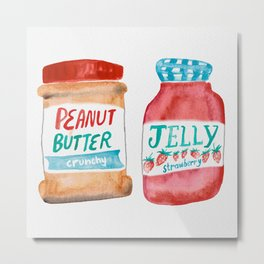 Peanut Butter & Jelly Watercolor Metal Print