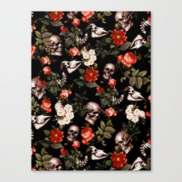 Floral and Skull Dark Pattern Canvas Print