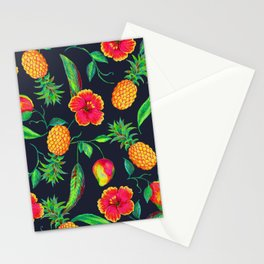 Tropical fruit and flowers Stationery Cards