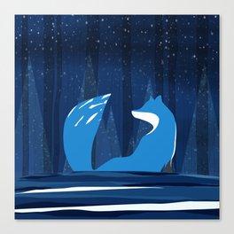 Wintery Blue Forest FOX Design Canvas Print