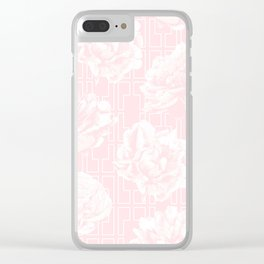 Rose Garden Pink Flamingo on White Mid-Century Lattice Clear iPhone Case