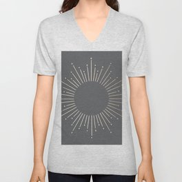 Simply Sunburst in White Gold Sands on Storm Gray Unisex V-Neck