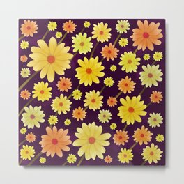 Yellow dots, Yellow Flower, Floral Pattern, Yellow Blossom Metal Print