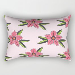 Old school tattoo flower pattern in pink Rectangular Pillow