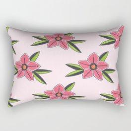 Old school tattoo flower pattern in pink Rectangular Pillow