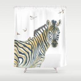 Zebra and Birds Shower Curtain