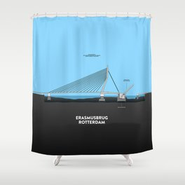 Erasmus bridge Rotterdam Shower Curtain