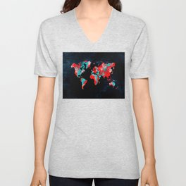 world map 82 red blue Unisex V-Neck