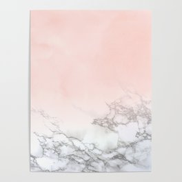 Blush Pink on White and Gray Marble III Poster