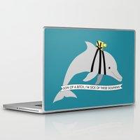 steve zissou Laptop & iPad Skins featuring Zissou Dolphin by SleepyMountain