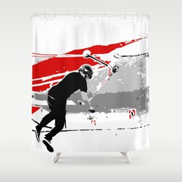 Spinning the Deck - Tail-whip Scooter Stunt Shower Curtain