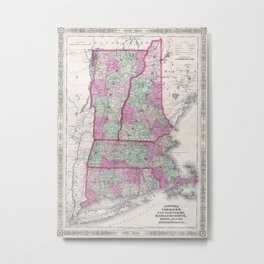 Vintage Map of New England States (1864) Metal Print