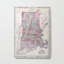 Vintage Map of New England States (1864) Metal Print