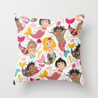 mermaids Throw Pillows featuring Mermaids by Helene Michau