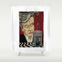 lynch Shower Curtains featuring David Lynch Signature Cup Coffee (Rabbit Blend) by David Procter