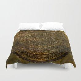 Lime Brown Mandala Duvet Cover