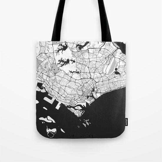 Singapore Map Gray Tote Bag