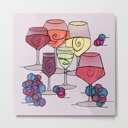 Wine and Grapes v2 Metal Print