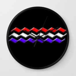 Rectilinear wave ....red,white,blue Wall Clock
