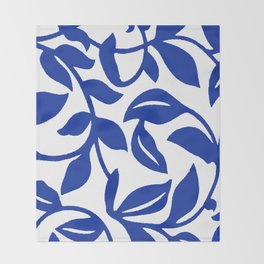 PALM LEAF VINE SWIRL BLUE AND WHITE PATTERN Throw Blanket