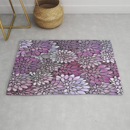 Stain Glass Floral Abstract - Purple-Lavender Rug