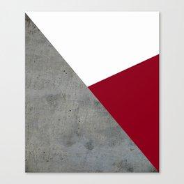 Concrete Burgundy Red White Canvas Print