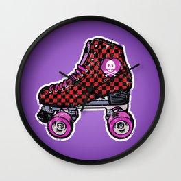 Purple roller skates, retro red checkered skates, skull heart Wall Clock