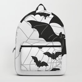 Black Bats with Spider Web Halloween Backpack