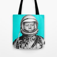 "jfk Tote Bags featuring JFK ASTRONAUT (or ""All Systems Are JFK"") by Dan Levin's Objects of Curiosity"