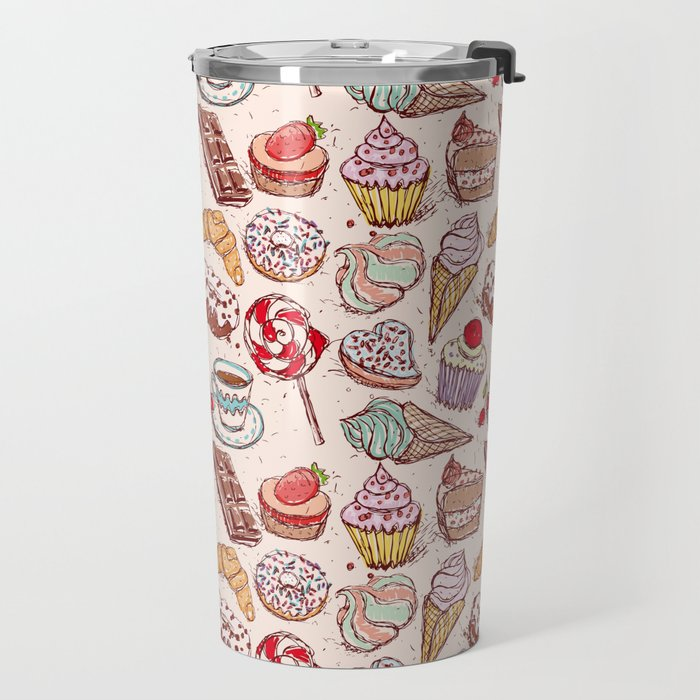 Hand drawn confectionery croissant Cupcake candy ice cream cake donut and coffee Travel Mug
