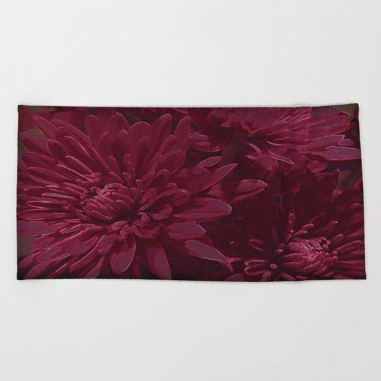 Burgundy Chrysanthemums Beach Towel