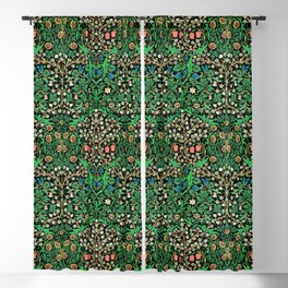 William Morris Jacobean Floral, Black Background Blackout Curtain