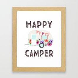 Happy Camper - Retro Floral Camper Framed Art Print