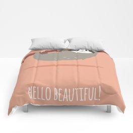 Sloth card - hello beautiful Comforters